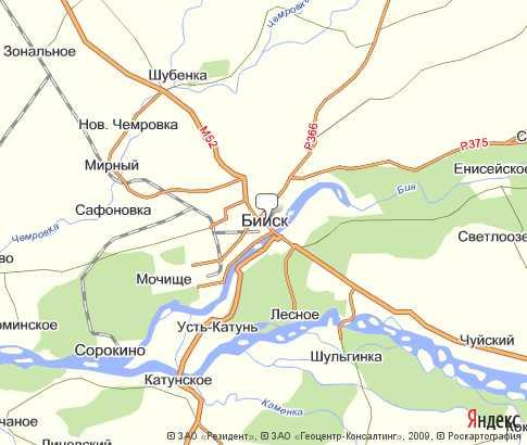 Карта Бийска с улицами и домами