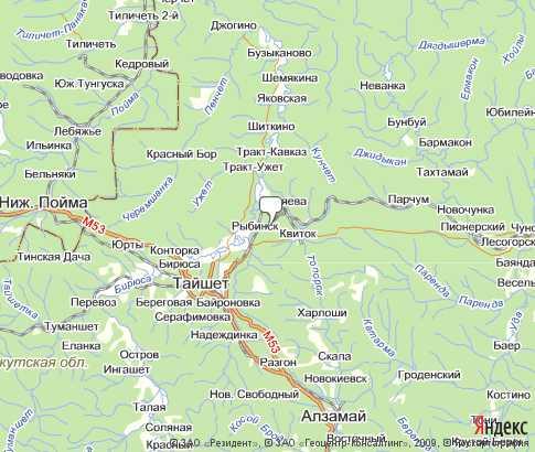 карта тайшетского района