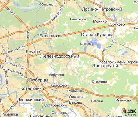Политическая Карта Железнодорожный на русском языке.