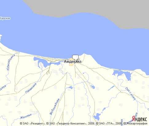 пгт Амдерма - карта, Ненецкий