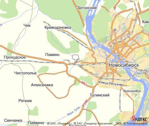 г. Обь - карта, Новосибирская область ...: karta-russia.ru/novosibirskaya_ob