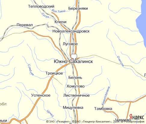 Южно-Сахалинск карта города