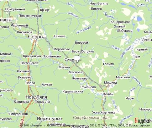 Карта Свердловской области со