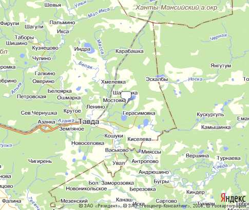 карта тавдинский район карта