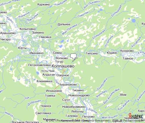 подробная карта колпашевского