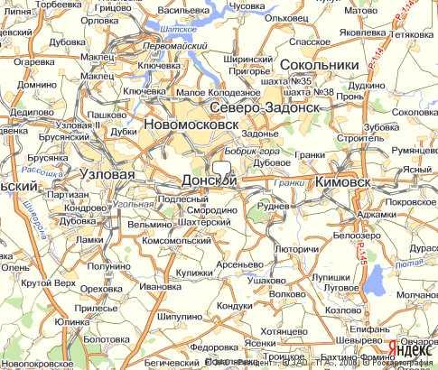 географическая карта тульской области: