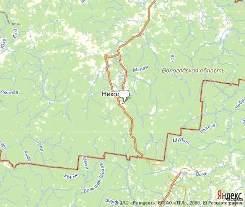 Никольский район - карта, Вологодская область , Северо ... займище